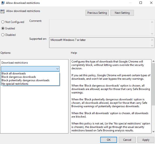 set download restrictions