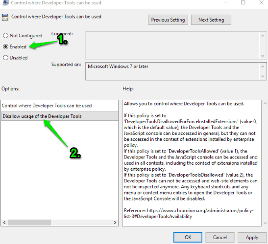set enabled and use disallow usage of the developer tools option