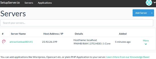 setupserver create server
