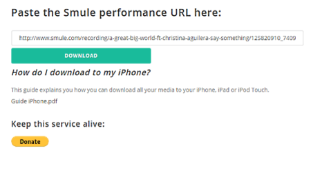download song from Smule