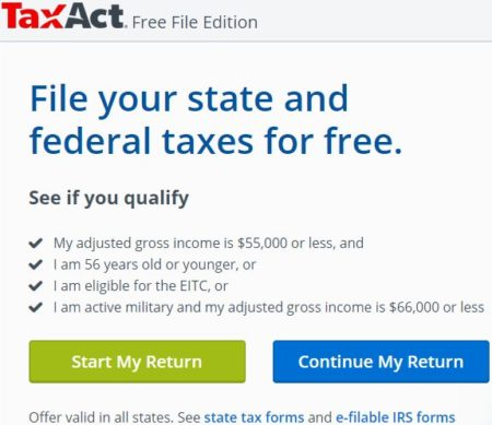 Website to File Tax Return for Free in 2019: TaxAct Free File