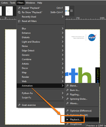 use playback option in animation under filters