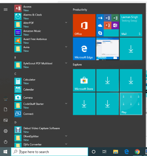 windows 10 start menu reset to default