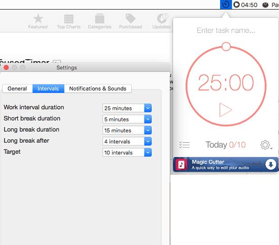 Be Focussed MAC menu bar Pomodoro app