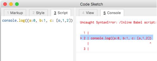 Code Sketch JavaScript debugging
