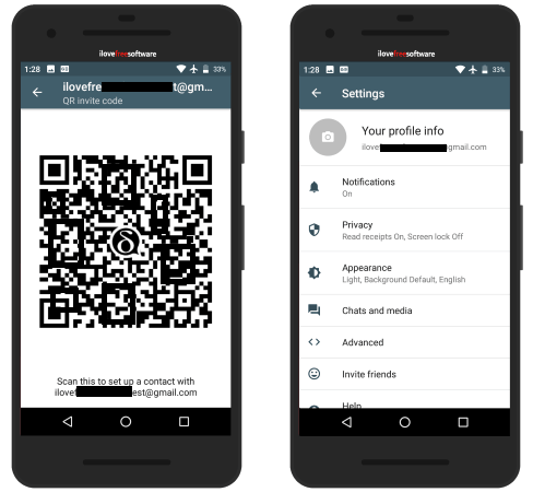 Delta Chat settings and qr code
