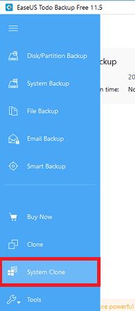 EaseUS Todo Backup system clone option