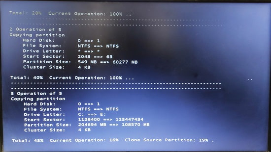 EaseUs Partition Master Cloning in action