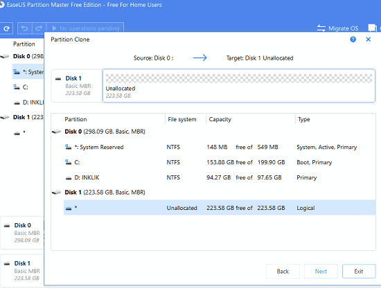 EaseUs Partition manager select target disk for clonning