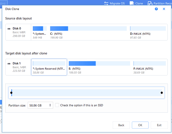 EaseUs Partition manager showing aftermath