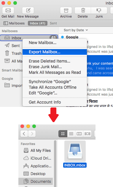 Export Mails from Mail app on MAC