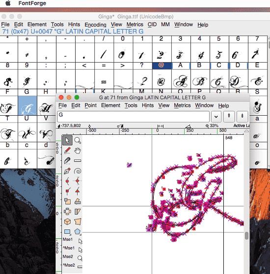 FontForge Font Editor MAC