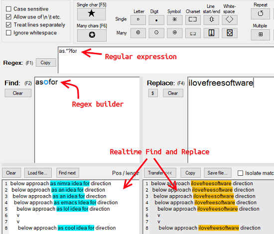 Free Find and Replace Tool for Windows with Regex Builder