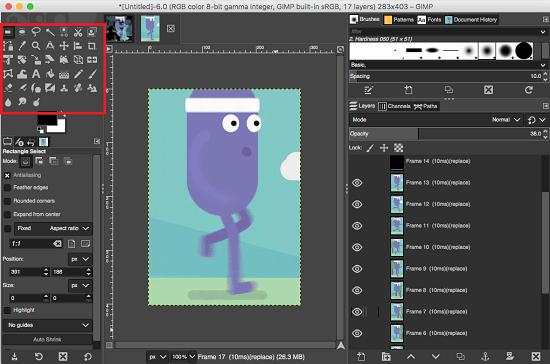 GIMP editing GIF