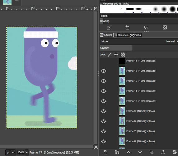 GIMP open GIF see frames