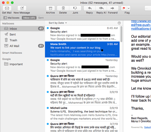 Mail App in MAC