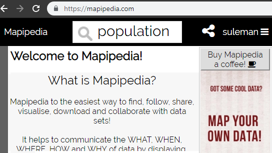 Mapipedia welcome page