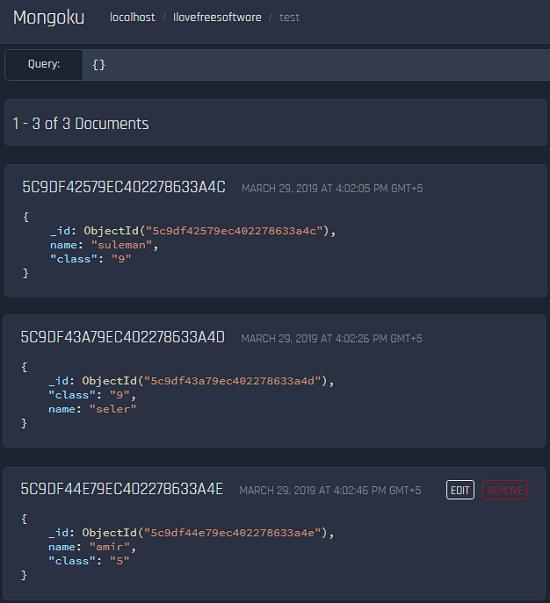 Mongoku free GUI for MongoDB