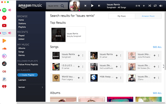 All in one music streaming MAC app for Amazon Music, Pandora