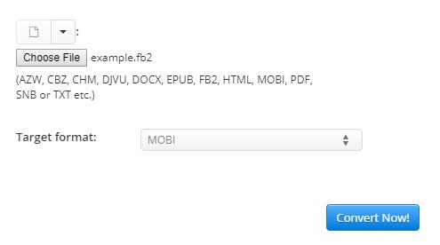 Online FB2 to MOBI converter