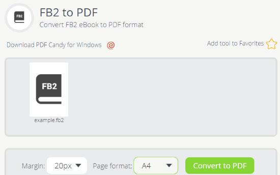 Online FB2 to PDF converter