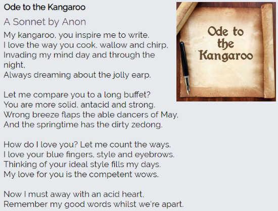 Online Sonnet Poem Generator