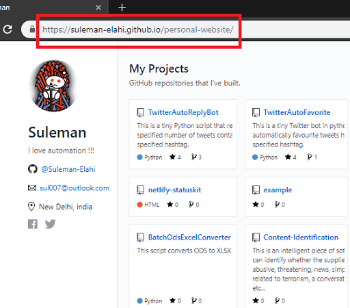 Personal website with github contribution in action