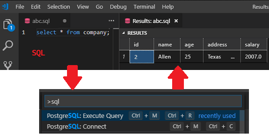 PostgreSQL execute query vs code