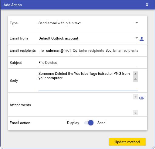 RoboIntern specify an action