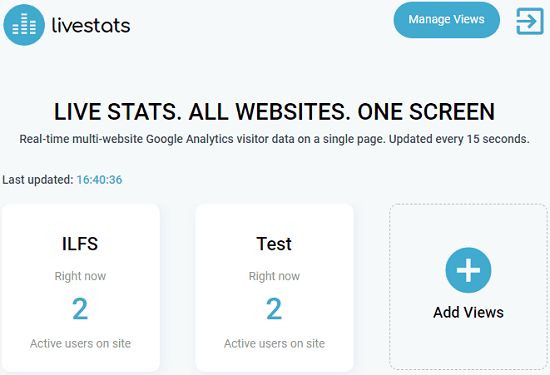 See real time Google Analytics visitor data of multiple websites together