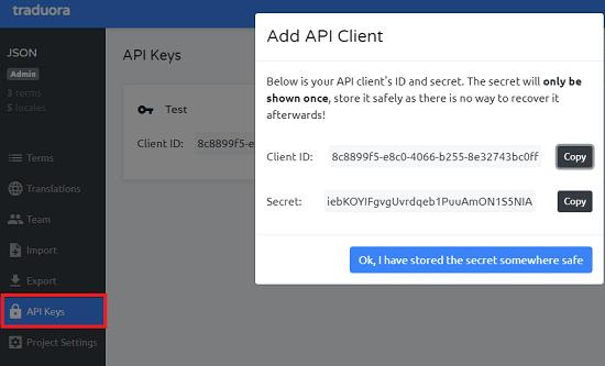 Traduora API keys