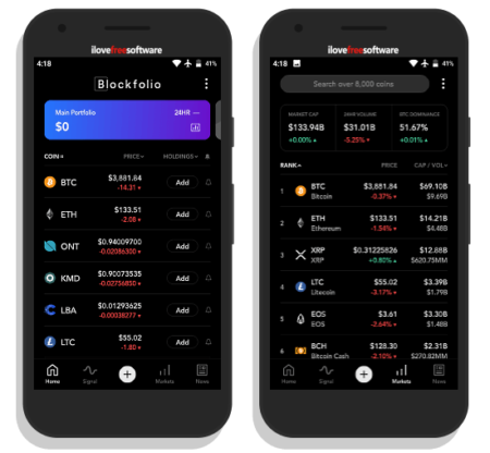 Track cryptocurrency portfolio on android app