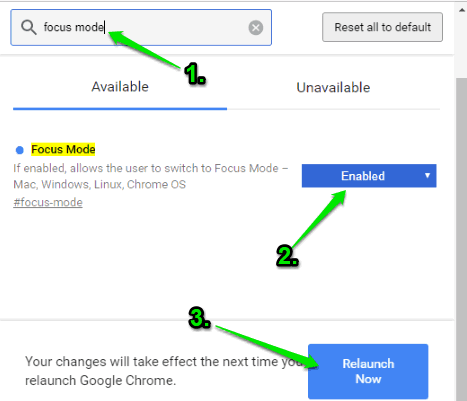 enable focus mode and relaunch browser