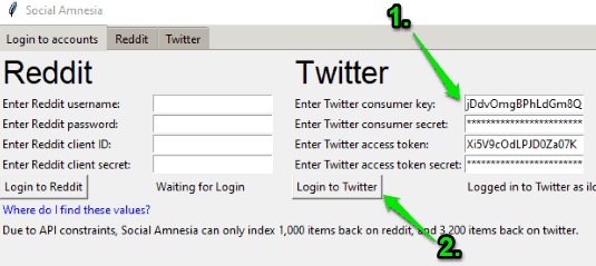 enter keys and tokens to login to twitter