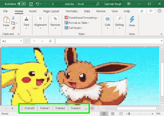 gif converted to excel