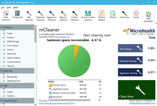 myCleaner in action CCleaner aternative