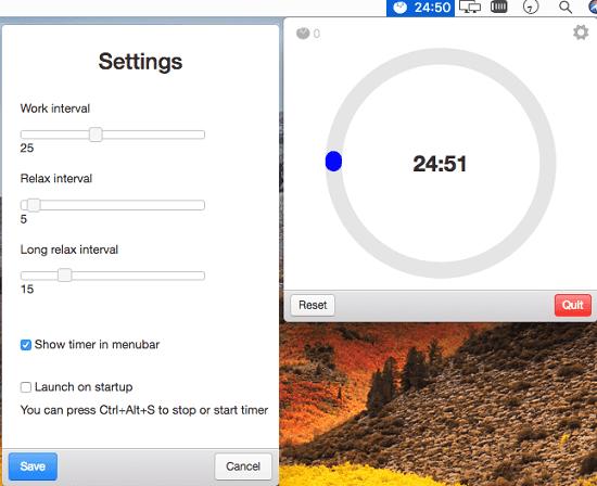 pomodoro menu bar app for MAC