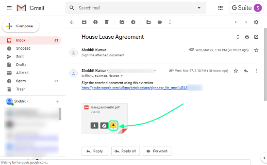 Gmail documents
