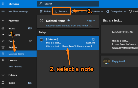 use deleted items section and restore deleted notes