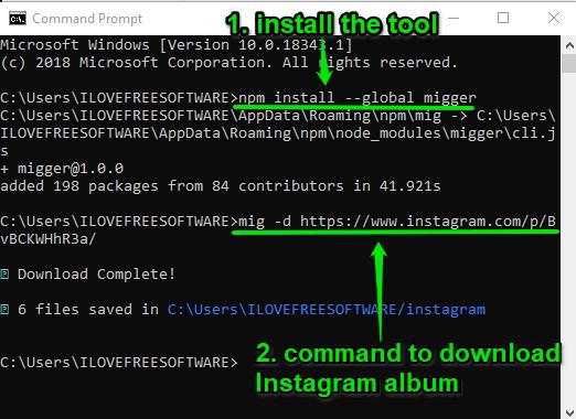 using migger tool to download instagram album