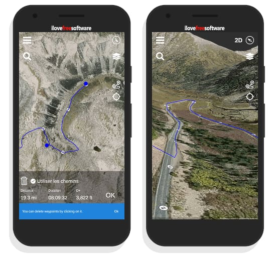3D gps app for to plan, record, map outdoor activities