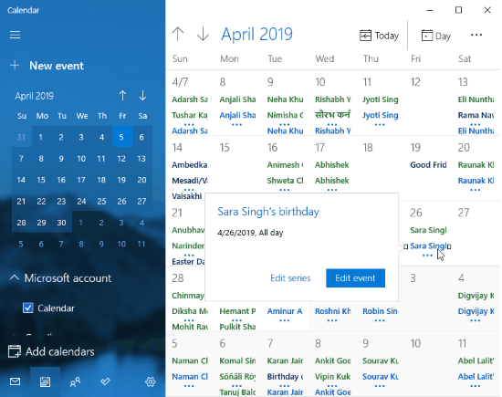 Add Facebook birthdays in a calendar