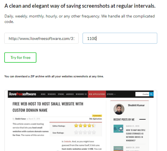 Capture webpage screenshot before signing up