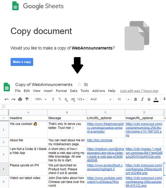 Copy Google Sheet for Notification Popup