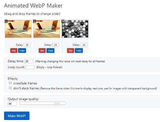 Create animated WEBP