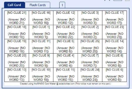 Create custom bingo card