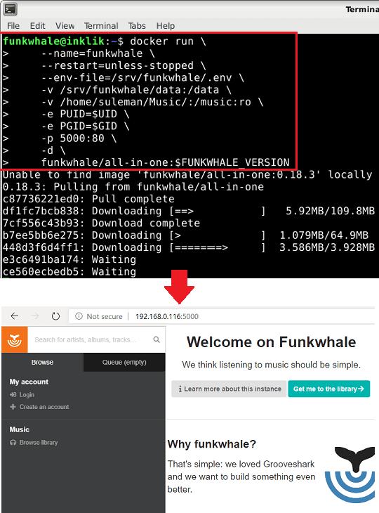 Docker run command funkwhale