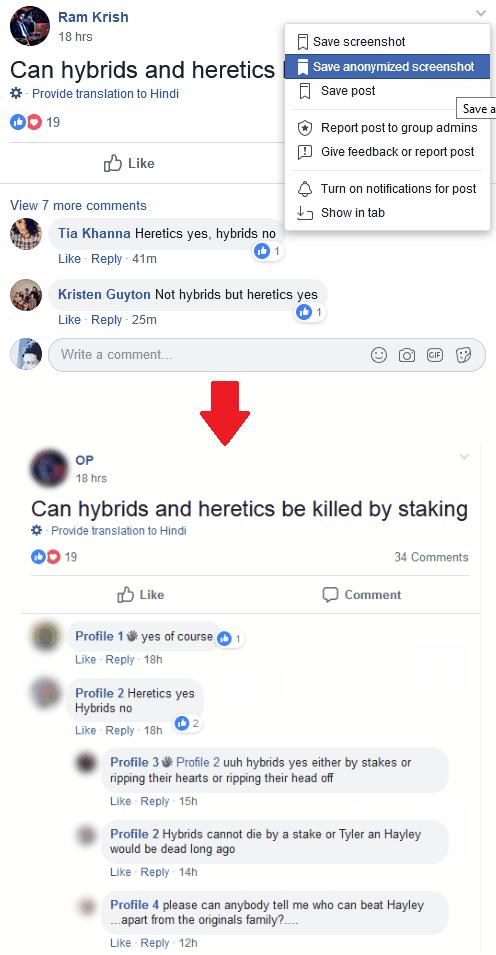 Facebook post screenshot anonymous mode