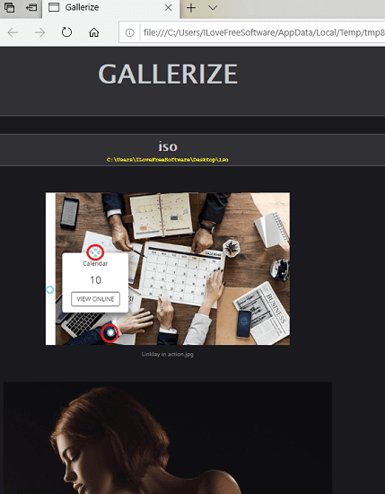 Gallerize in action