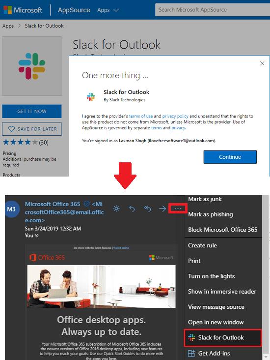 Install Slack for Outlook